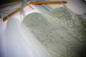 lace strap wedding dress