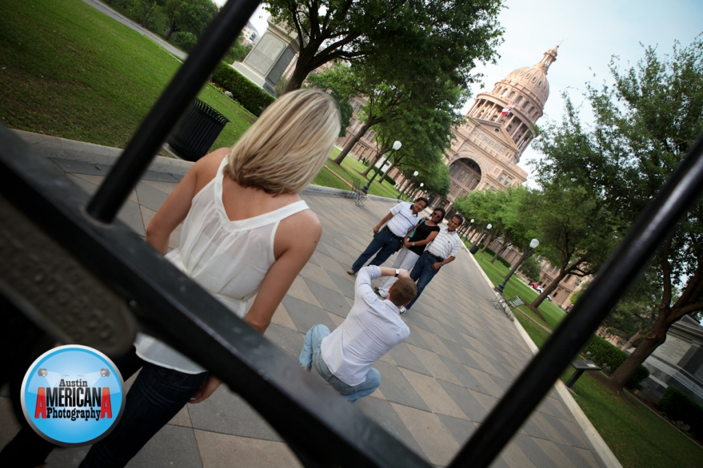 Engagement photos at the Austin Capitol