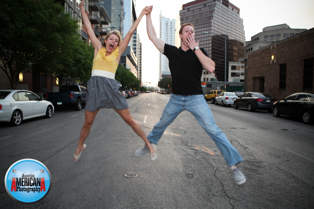 austin couple jumping downtown