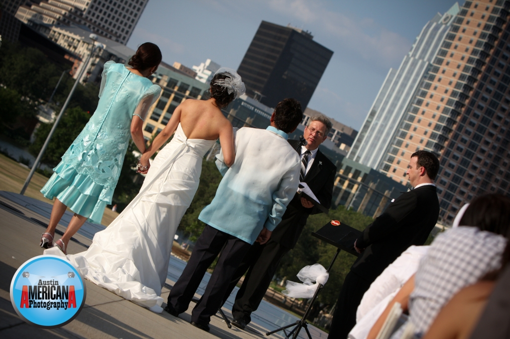 bride and groom at long center wedding